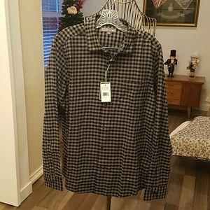 Ike Behar Mens black checkered button down shirt